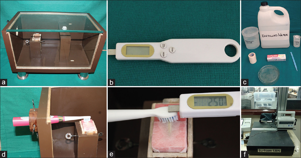 Figure 4: (a) Custom-made wooden brushing machine; (b) force gauge; (c) armamentarium used; (d) tooth specimen mounted in its acrylic block and toothbrush fixed in brushing machine; (e) 250 g of force applied on toothbrush; (f) profilometer used to read surface roughness readings